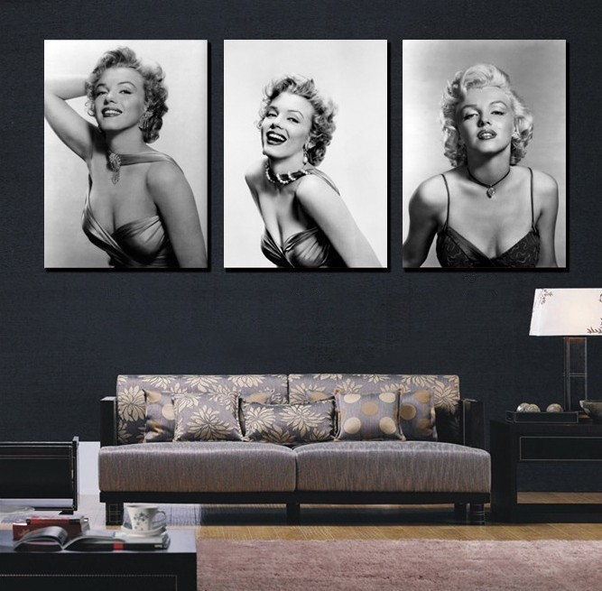 3 panel moderm SEXY Marilyn Monroe home decoration combinative canvas painting picture on wall hunging
