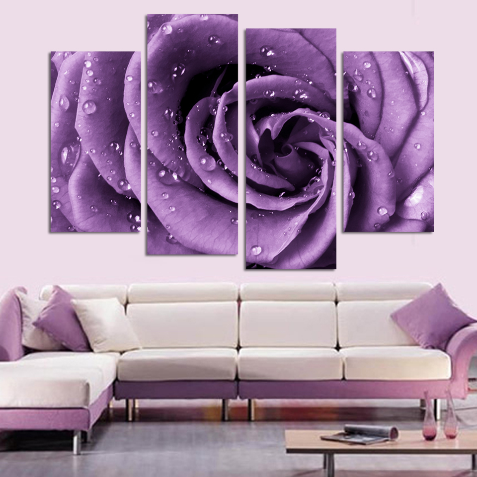 4 panel set modern abstract beautiful wall art purple rose oil painting on canvas home