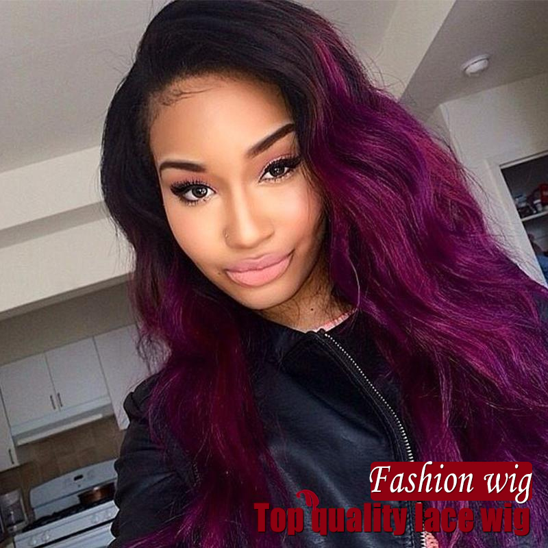 Two Tone Color Synthetic Full Lace Front Wig Ombre Purple Color Heat
