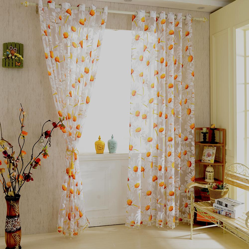2019 New White Orange 125m Sunflower Voile Window Panel Sheer