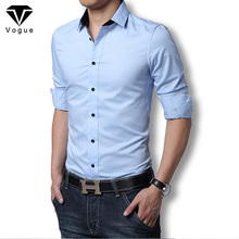 2016 Men Dress Shirt Elegant Comfort Long Sleeve Men Shirt Cotton Solid Slim Fit Business Casual Shirt Men Shirt Plus Size M-3XL