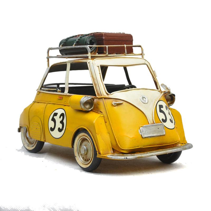 Vintage Style Metro Miniature Yellow Car #53 With Metal