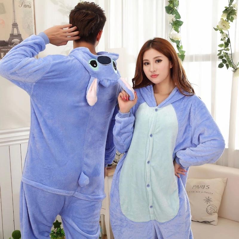 86610ddf82e Blue-Stitch-Couple-Pijama-Pajamas-Cartoon-Animal-Cosplay .
