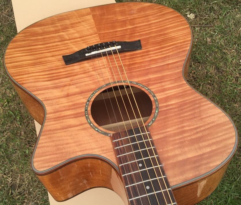 Wholesale Hand Made Okoume Flame Maple Wood Acoustic