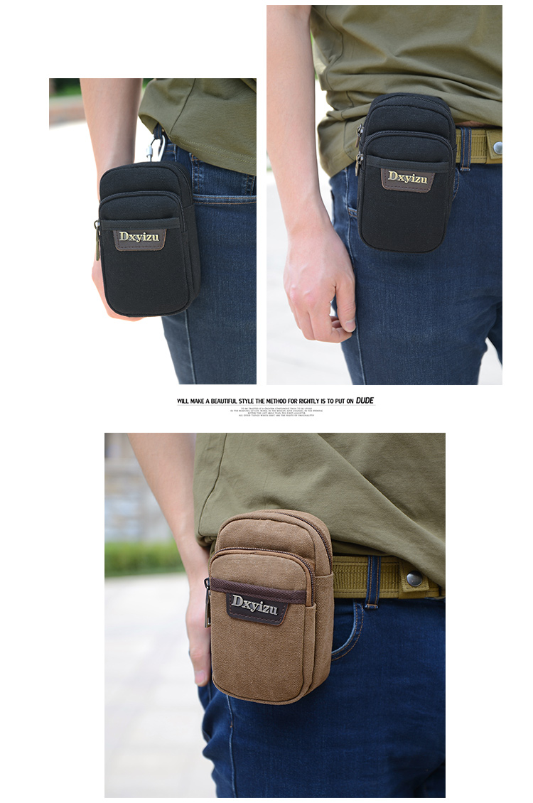 d9ffc0eeecb4 Anti-theft waist bag fashion fanny pack canvas small cigarette packs  multi-pocket travel security purses money hip belt bag men