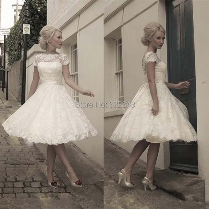 Simple Ankle Length Lace Wedding Dresses White Three: Aliexpress.com : Buy 2015 Petite Lace White Ball Gown