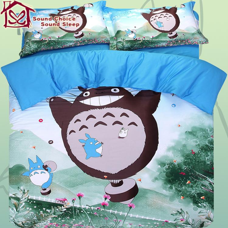 Totoro Bed Set: Totoro Bedding Set 100% Cotton 4pcs Comforter Cover Bed