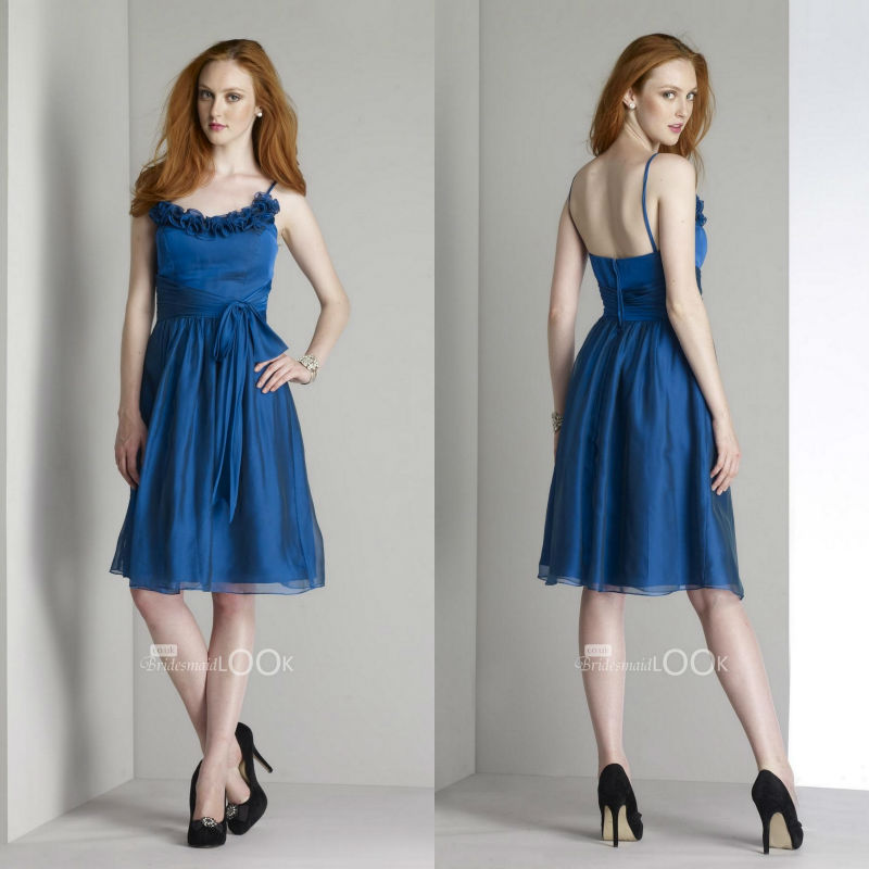 Cobalt Blue Knee Length Bridesmaid Dresses