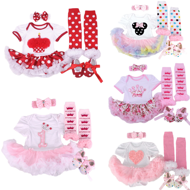 Baby Christmas Clothing Romper Dress 4pcs set Infant Bebe Girls Birthday Costumes Jumpersuit+stockings+Headband+shoes