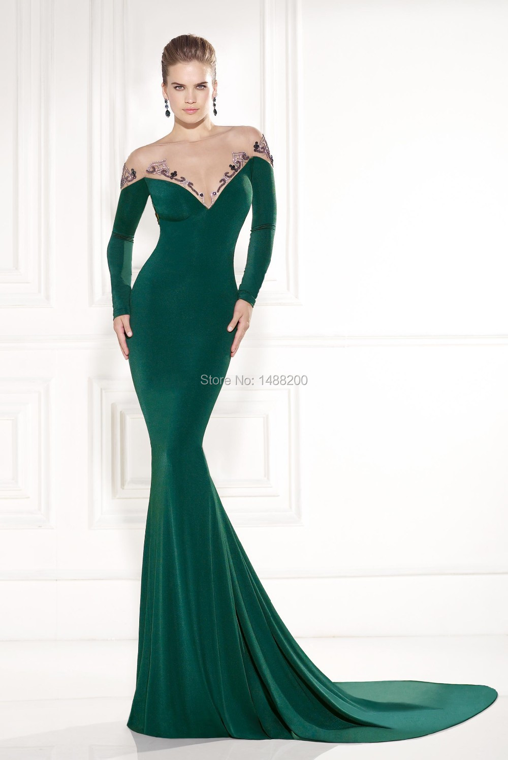 Compare Prices on Emerald Green Dress- Online Shopping Buy Low ... Sexy See  Through Emerald Green Evening Dress Long Sleeve Mermaid Beaded ... 28b5a79473e6