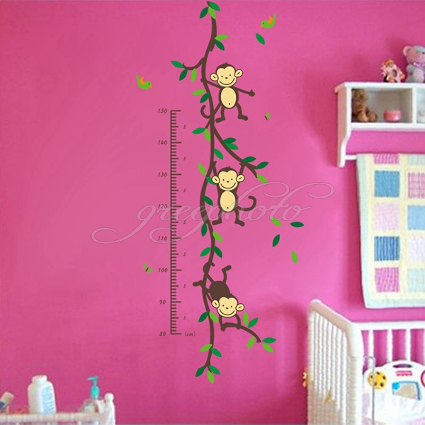 2016 Monkey Removeable Wall Decal Height Measure Chart Sticker Kid Bedroom Room Decor