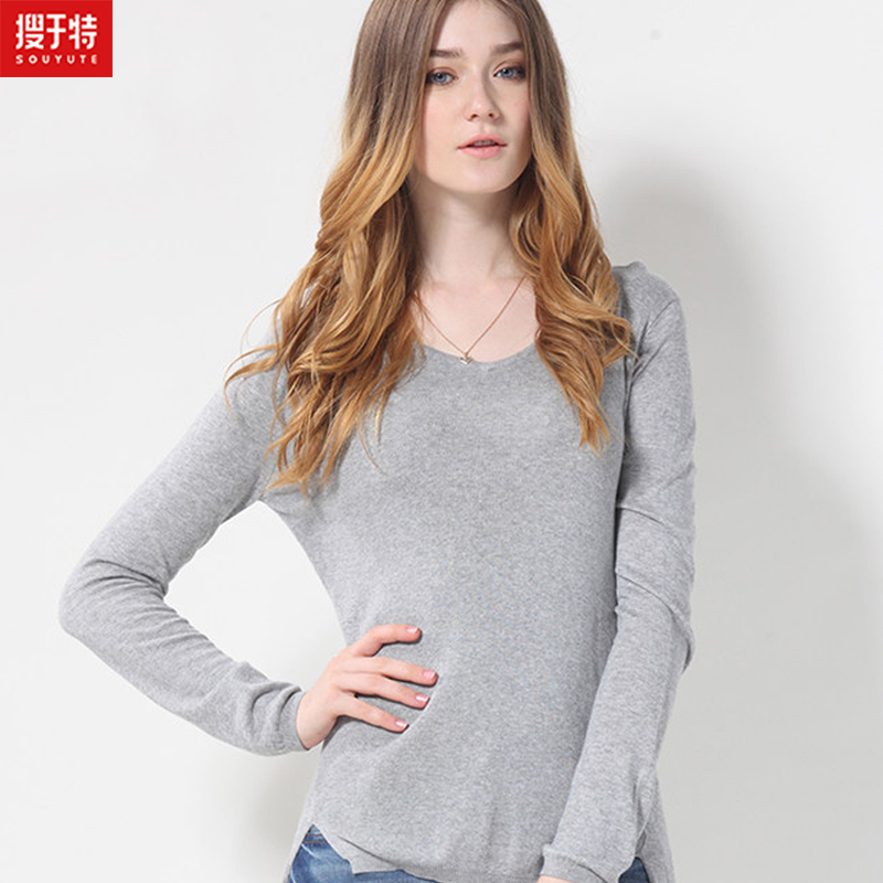 souyute 2016 sprint women 39 s sweater pullover slim v neck solid color long style placketing class. Black Bedroom Furniture Sets. Home Design Ideas