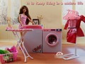 White and Pink Dollhouse Laundry Center Sets Washing Machine Ironing Table Hangers Furniture Accessories for Barbie