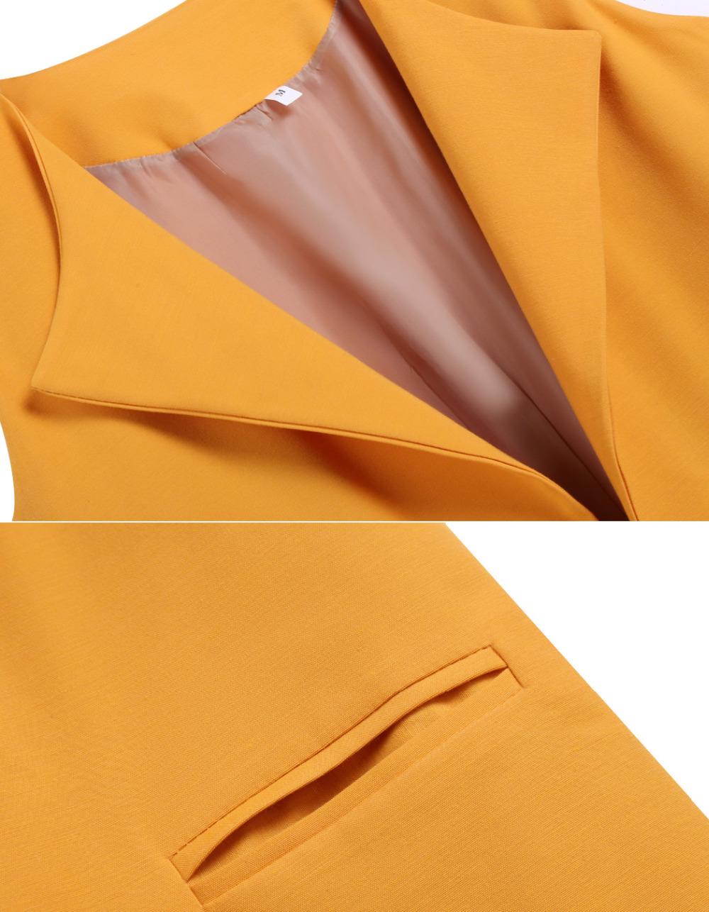 2015 новое поступление женщины жилетка безрукавка задняя пиджаки свободного покроя оранжевый осень кардиган Roupa женский бесплатная доставка