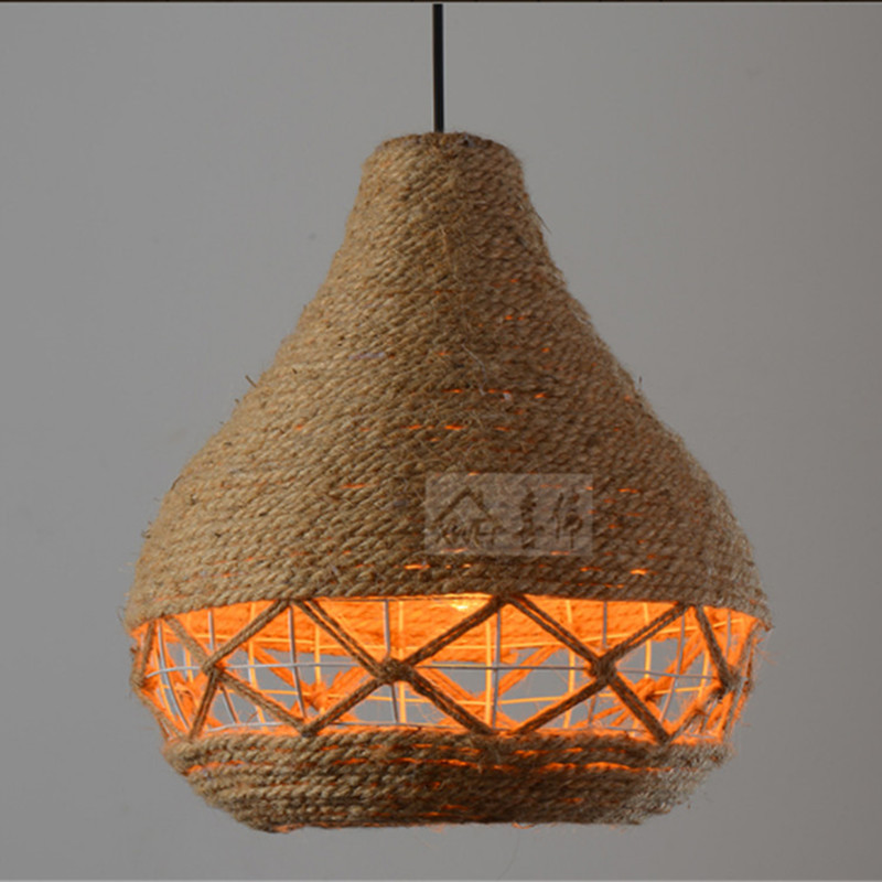 vintage industrielle corde de chanvre tiss d coratif lumi re pendentif loft lampe suspendue. Black Bedroom Furniture Sets. Home Design Ideas