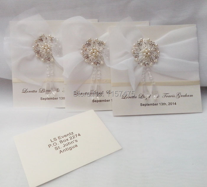 HI1017 Elegant Ivory Personalised Wedding Invitations With Crystal