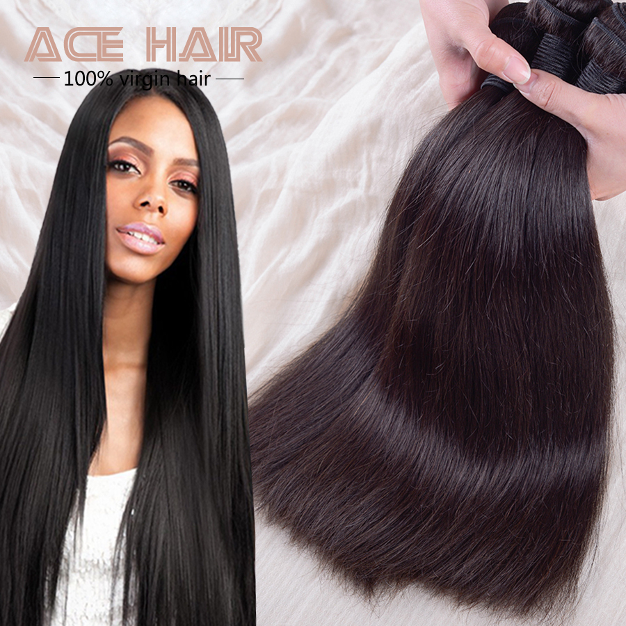 Malaysian Virgin Hair Straight Natural Black Hair 3pcs ...