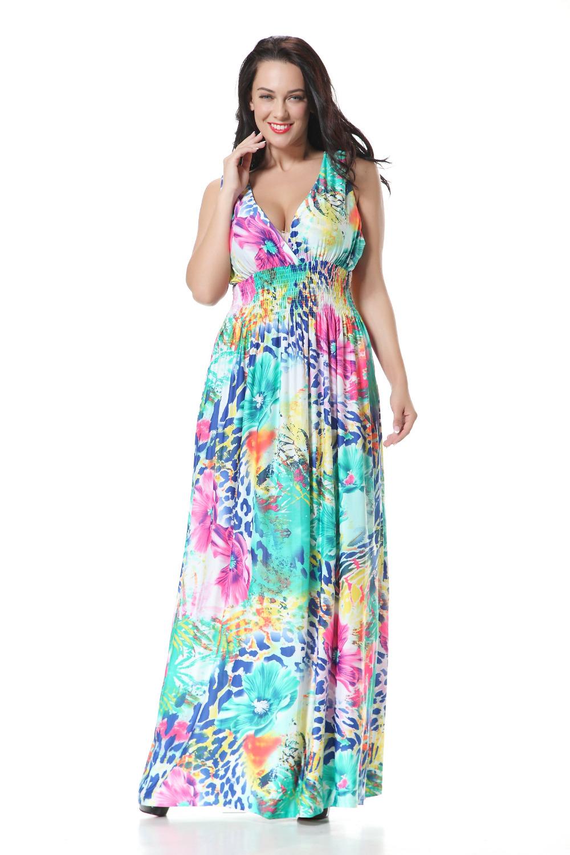 Plus size women holiday beach dress Sexy V neck flower ...