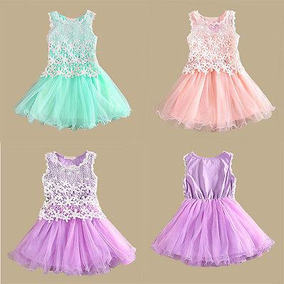 2015 Kids Baby Girls font b Fancy b font Lace Flower Tulle Gown Party font b