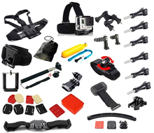 Go pro Accessories Set Helmet Harness Chest Belt Head Mount Strap Monopod Gopro hero 4 3+ xiaomi yi Black Kit Action camera GS19