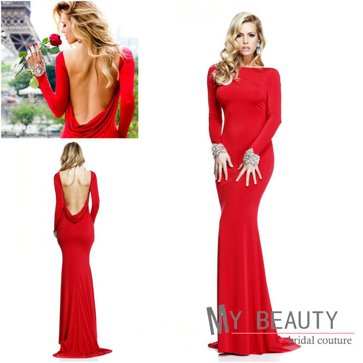2014 Christmas Party Dress: Sexy-Low-Scalloped-Back-Red-Slim-Beaded-Long-Sleeve