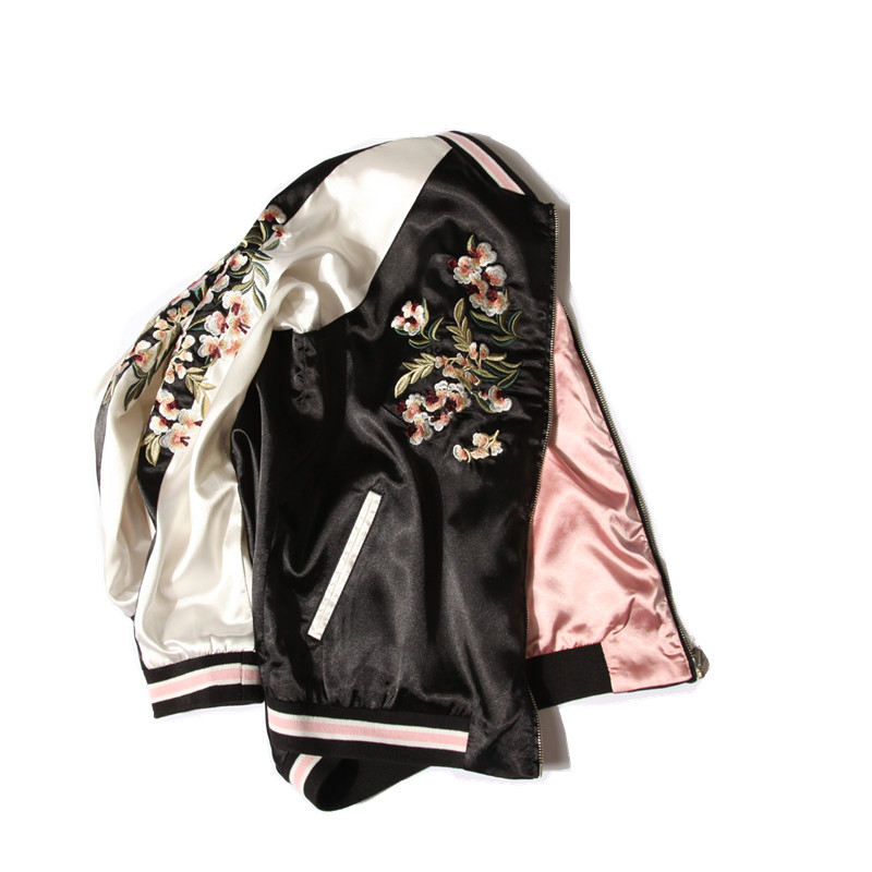 bomber jacket reversible jacket women floral embroidered