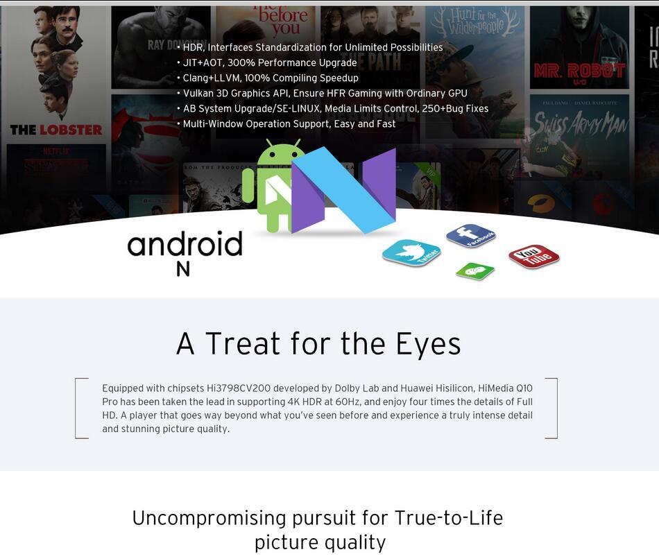 Himedia Q10 Pro Android 7 1 TV BOX Hi3798CV200 2G/16G 4K HDR Dolby DTS  2 4G/5GHz WIFI 1000M LAN 3 5