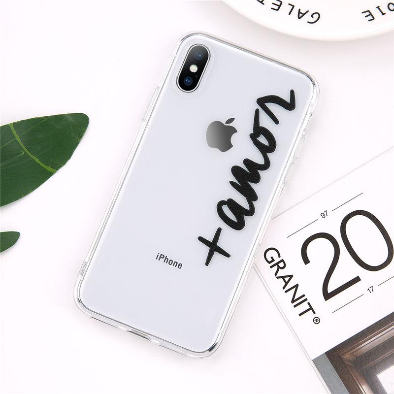 Lovebay пары телефон чехол для iPhone 7 8 6 6s Plus 5s SE X XR XS Max Прозрачный Письмо Любовь Мягкий ТПУ силиконовый чехол(Китай)