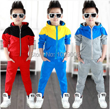 2014 new arrive baby boys clothes set hoodied  clothes suit  3 colors  boys sports suit  Retail and free shipping