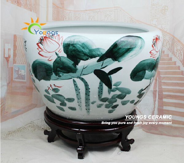 Large Chinese Hand Painted Lotus Ceramic Fish Planter