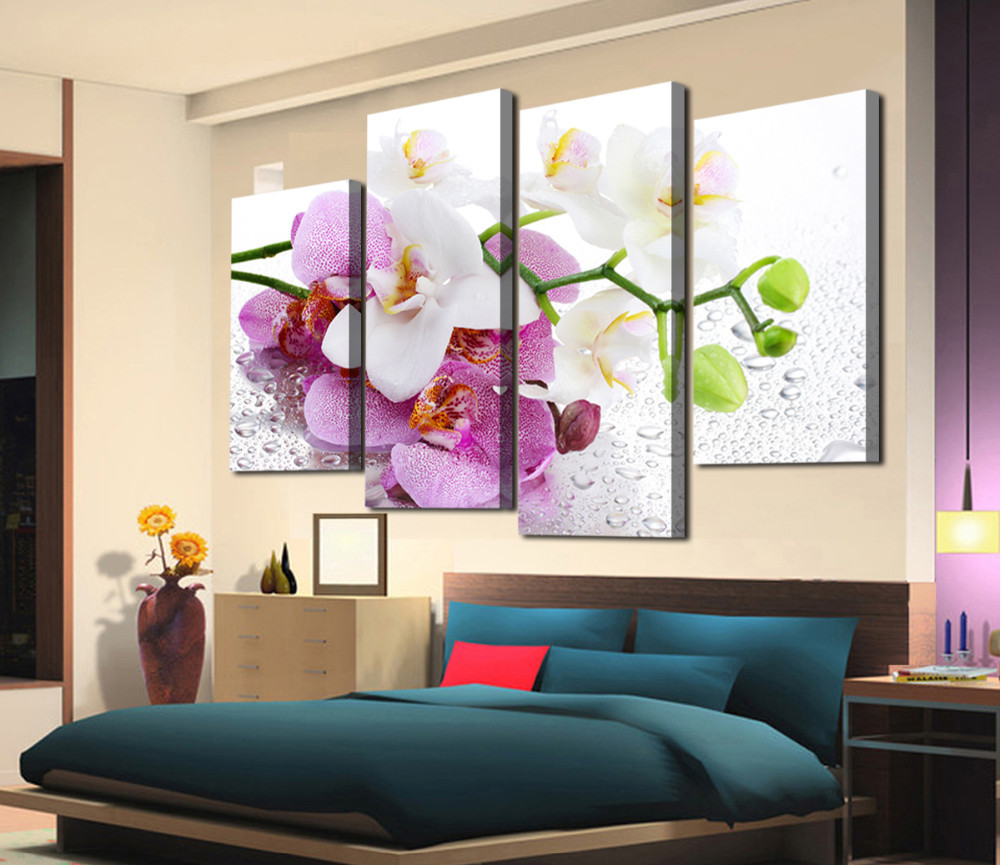 New 4 panels printed flowers on canvas wall art picture modern home decoration living room canvas painting wall picture no frame modern home decor