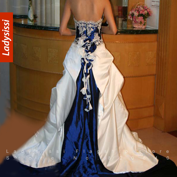 2014 Luxury Senior Sapphire Blue And White Wedding Dress