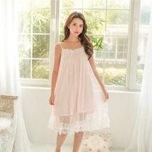 Женское кружевное нижнее белье, летняя мягкая ночная рубашка из модала, белого цвета(Китай)