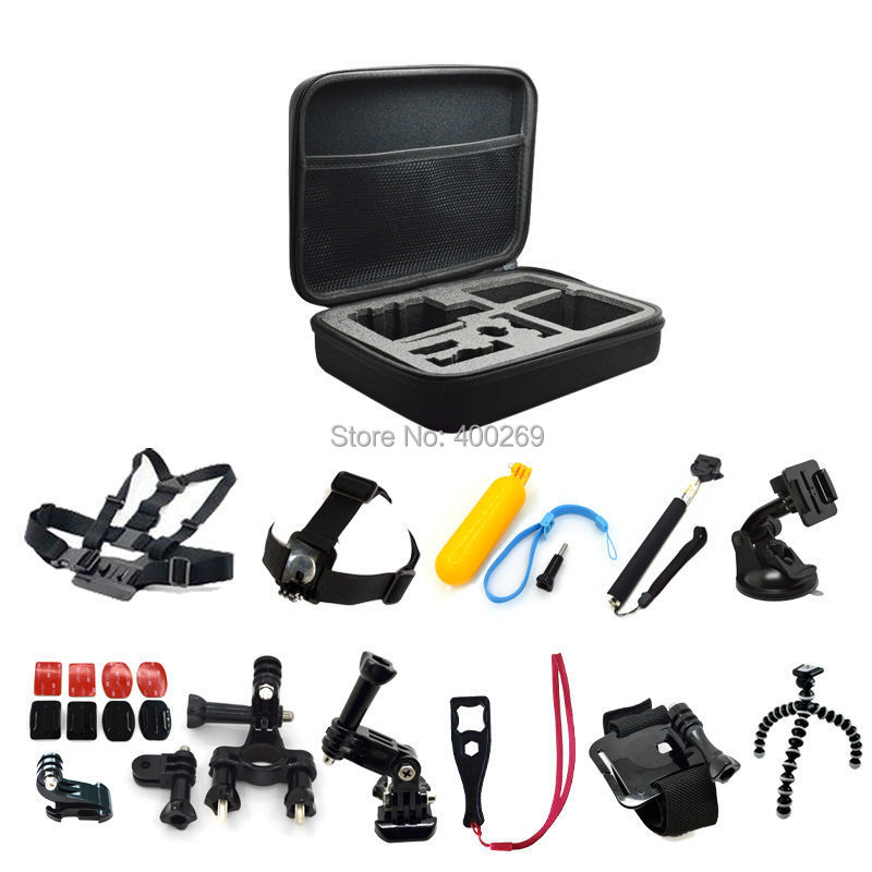 Go Pro Kit Accessories 13 In 1: Gopro Monopod+box+head Strap+chest Strap+wrist