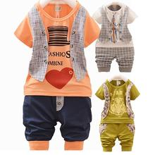 2015 New Children Clothing Sale Boys Clothes Kids Summer Set Baby Boy Clothing Plaid Vest Tie Shorts Pants Gentleman Suit