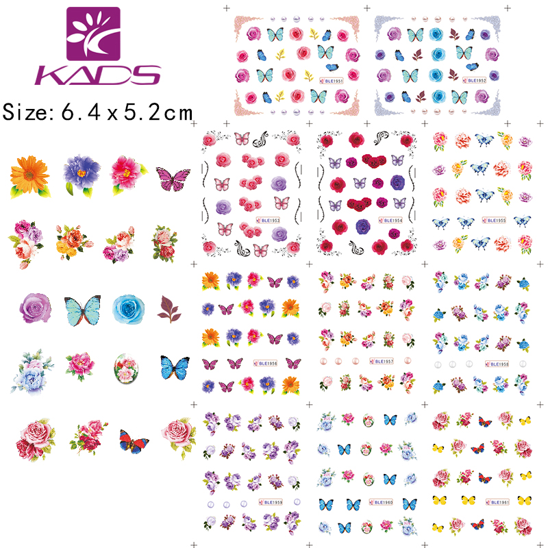 BLE1951 1961 beautiful Butterfly colorful flowers Series Water decal Nail Stickers France design nail art flower