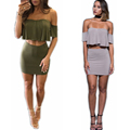 2016 Fashion women crop top and skirt set Solid color Backless Sexy Short sleeve costume Easygocat