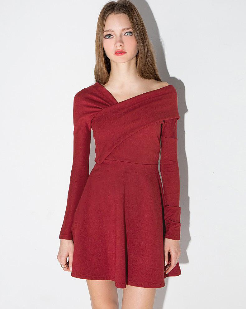 31c3fd0f20b Fashion Sexy Off Shoulder Solid Color A-line Slim Women Mini Dress ...