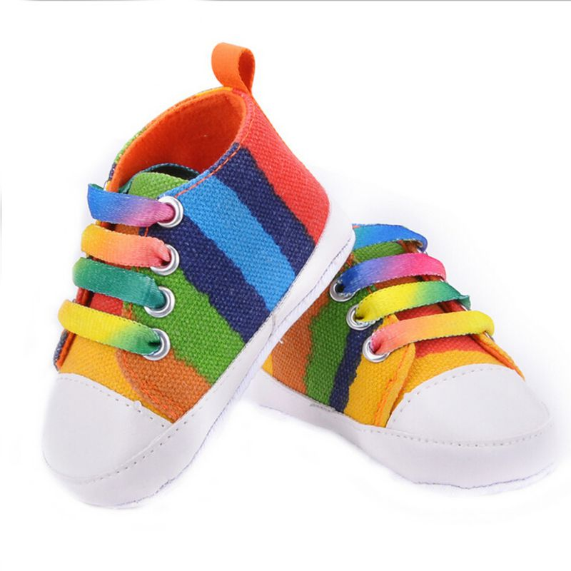 Baby Shoes Girls Boys 2016 fashion Rainbow Canvas Shoes Soft Prewalkers Casual Baby Shoes