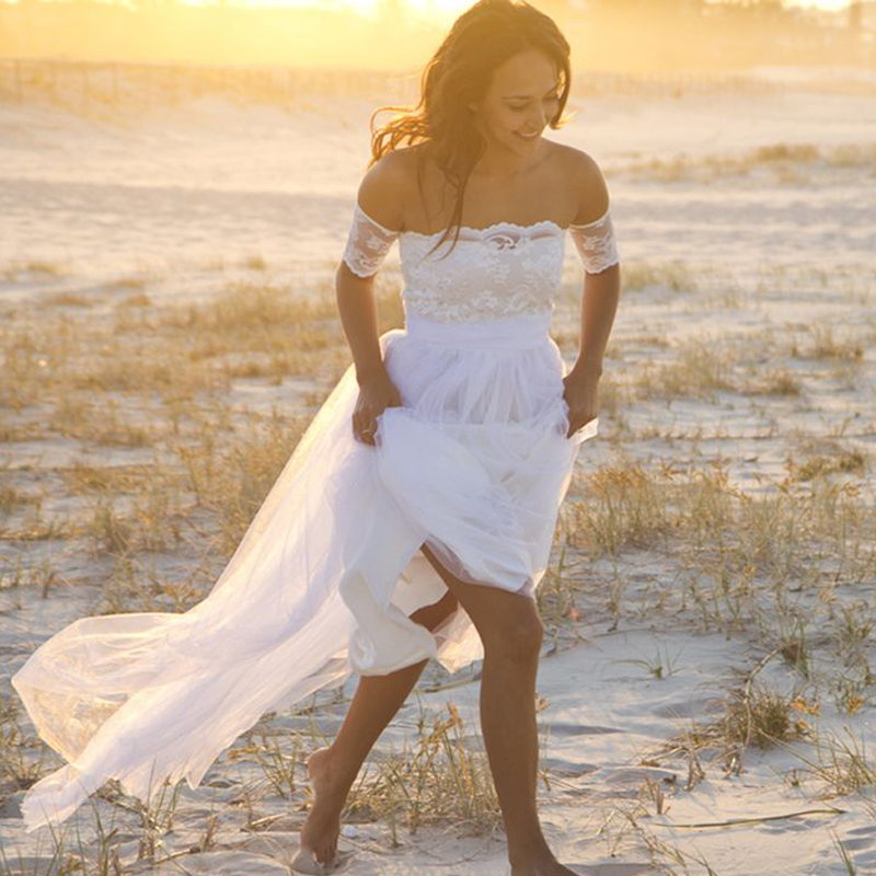 Simple Wedding Dress Hippie: White Lace Appliques Off The Shoulder Hippie Boho Wedding