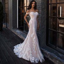 Сексуальное свадебное платье русалки с открытыми плечами, без рукавов, аппликация, кружевные свадебные платья, халат для невесты(China)