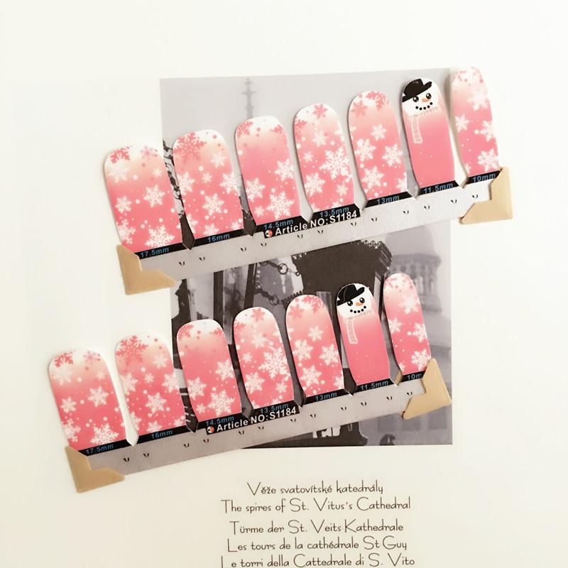 White Pink Cute snowman child Nail Arts Nail Sticker Waterproof Nail Decal Sticker Gel Polish French