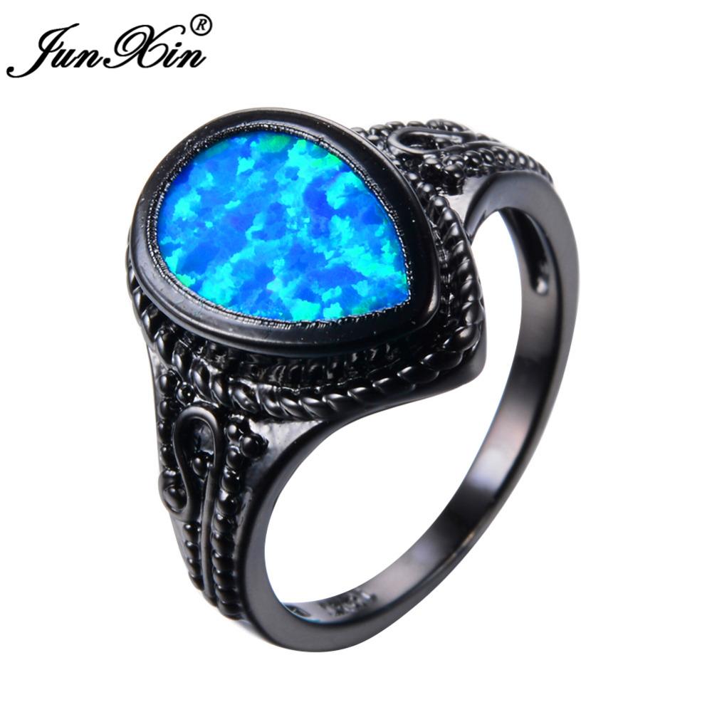 JUNXIN Blue Fire Opal Ring Vintage Black Gold Wedding