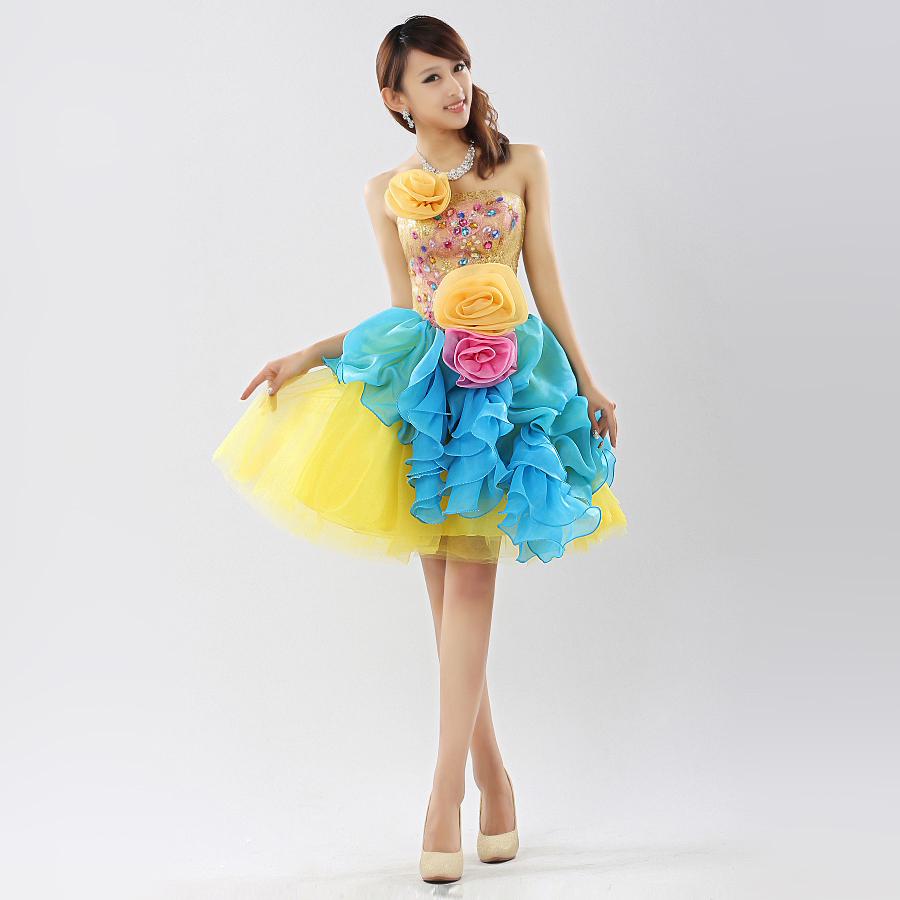 2013-new-short-wedding-dress-Bud-silk-sequins-flower