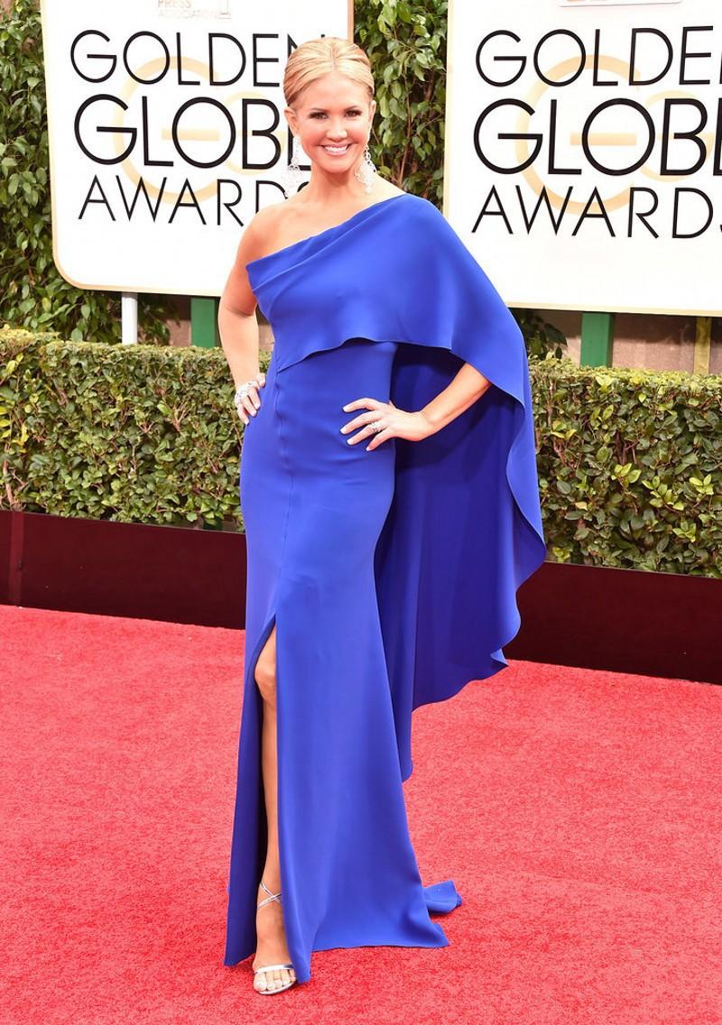 Special Design Nancy O'Dell Blue Sheath Red carpet Dress Sexy slit Long Evening Dress 2015 72nd Golden Globe Celebrity Dress