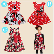 Free shopping 2015 New summer dress  Minnie Mouse Dress girls clothes  printing dot sleeveless dress dress girl fashion