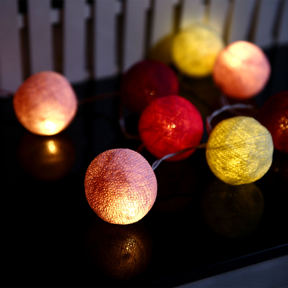 Xmas Cotton 10 Ball Fairy LED 1.8M String Light Party Outdoor Indoor Decor