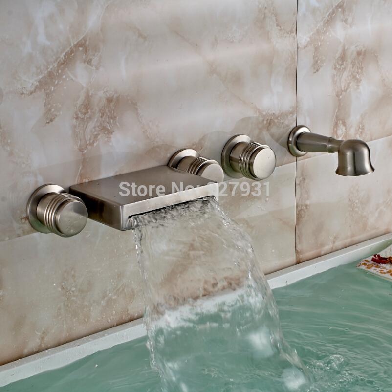 Modern Wall Mounted Roman Bathtub Brushed Nickel Bathroom