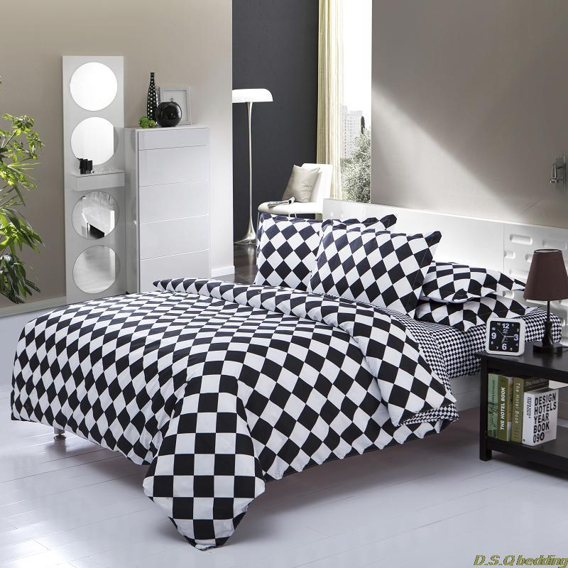 Black White Square Kingqueenfull Size Bedding Set Comforter Sheet