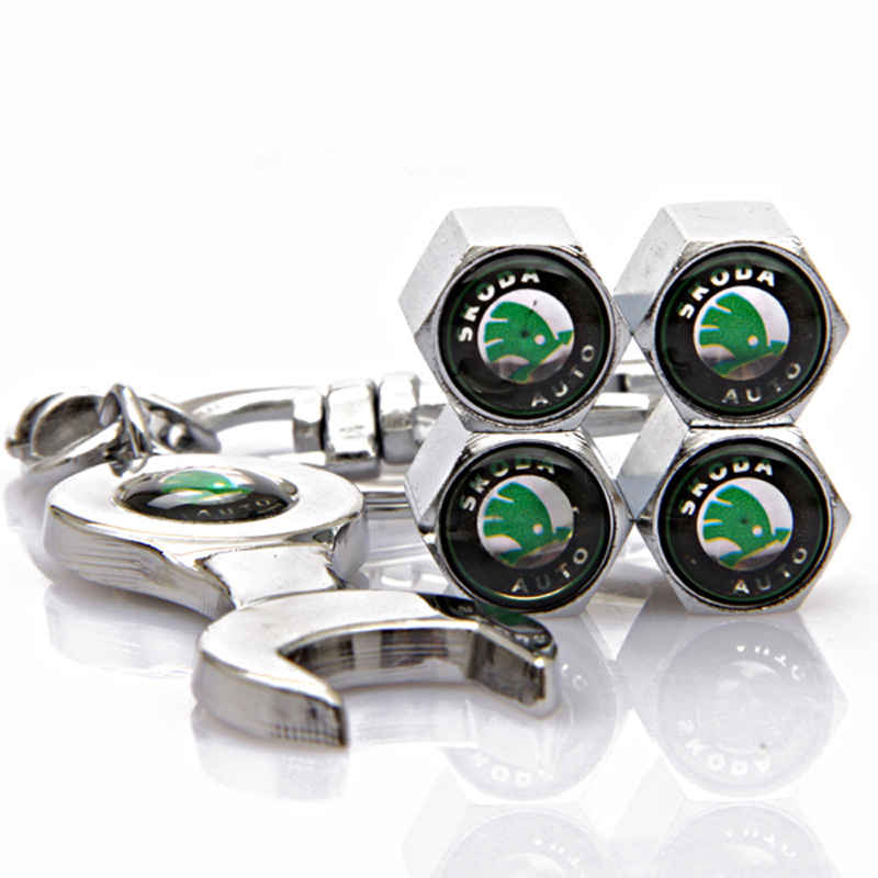 4 шт./компл. зеленый Skoda логотип автомобиля колесо шина колпачки с мини гайковерт и брелок для превосходным Fabia Octavia Roomster йети